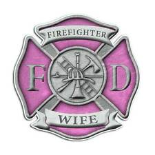 Firefighter Wife Maltese Cross Sticker - Pink Girl Mom Truck Decal