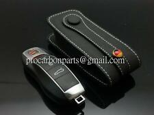 Black with white line Leather Key case for Porsche 911 Panamera 981 CARRERA 970