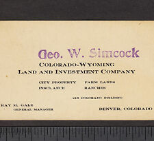 Denver Colorado-Wyoming Land Investment Ranch Farm Simcock Insurance Co Ray Gale