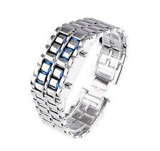 NEW Women's Volcanic Lava Iron Samurai Metal Faceless Bracelet Sport LED WatchL6