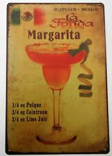 1 x MARGARITA COCKTAIL RECIPE METAL TIN SIGNS vintage cafe pub bar garage retro