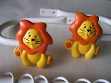 childrens bedroom nursery animal lion orange white curtain tiebacks holdbacks