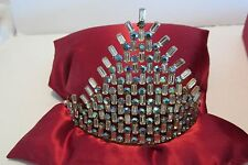 Vintage TIARA Headpiece Aurora Borealis Rhinestone Crown Padded Presentation Box