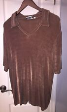 Addition Elle Tricot Brown Stretch Slinky V Neck Collared Top Shirt Blouse 2X