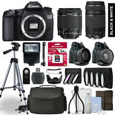 Canon EOS 70D SLR Camera 4 Lens Kit 18-55 + 75-300mm + 64GB Accessory Bundle
