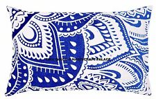 Blue Ombre Lotus Cotton Mandala Throw Pillow Case Indian Cushion Cover Ethnic