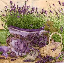 4 Tolle lose Servietten Napkins Tovaglioli 33x33cm Lavendel (1140) Decoupage