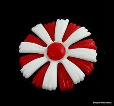 Retro Rot Weiß Plastik Blumen Brosche, Spilla, Plastic red white Brooch, Broche