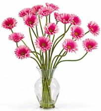 Nearly Natural 1086-PK Gerber Daisy Liquid Illusion Silk Flower Arrangement Pink
