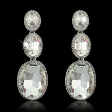 Glamorous Silver Plated Long Clear Crystal Dangle Fashion Earrings
