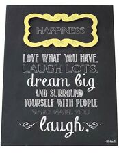 Happiness Sign Plaque Love What You Have Laugh Lots Gift for Friends or Family