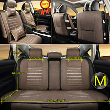 5 Seats Car Seat Cover Linen Front Rear Cushion Neck Lumbar Pillow Coffee Size M