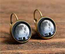 1 pair landed on the moon planet bronze Glass cabochon Lever Back Earrings #415