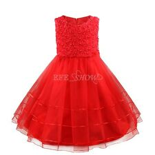 XMAS Sequins Flower Girl Dress Children Party Wedding Bridesmaid Formal Dresses
