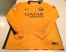 Team FC Barcelona Authentic Long Sleeves Jersey Yellow Soccer XX-Large Football