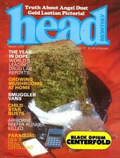 HEAD MONTHLY March 1978 1970s DRUG CULTURE, PSILOCYBIN, BLACK OPIUM, CANNABIS