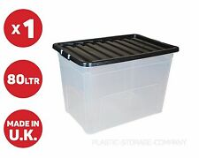 80 LITRE PLASTIC STORAGE BOX - STRONG BIG BOX - STACKABLE - TOYS - CLEAN UP -
