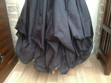Whitby Goth Steampunk Vittoriano Gonna Lunga Nera Polysilk Freesize (7522)