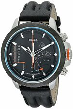 Timex Men's T2p274dh Intelligent Quartz Stainless Steel Watch With Black Leather