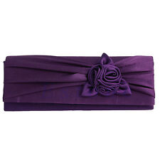 WOMEN'S SATIN ROSE FLOWER PLEATED CLUTCH BAG BRIDAL PARTY EVENING HANDBAG PURSE