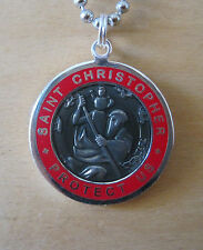 Large Saint Christopher Medal Protector of Travel sl-re Slate-Red