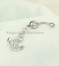 Clear Rhinestone Anchor Dangle Button Barbell Belly Navel Ring Bar Body Piercing