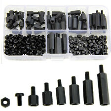 180Pcs M3 Nylon Black M-F Hex Spacers Screw Nut Assortment Kit Stand off Set Hot