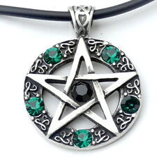 Pentacle Pentagram Star Wicca Pagan Magic Black-Green Crystal Pewter Pendant