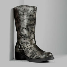 NIB women girl boots VERA WANG Silver metallic buckle winter cowboy sz 5.5 $110