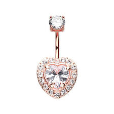 Rose Gold Brilliant Heart Sparkle Belly Button Ring Clear 14G