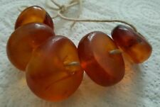 ANTIQUE CLEAR AMBER -VERY LARG BEADS