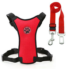 16-20'' Mesh Puppy Pet Dog Car Harness Seatbelt Clip Lead Safety for Dogs Travel