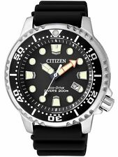 Mens Citizen Eco-Drive Promaster Black Rubber Divers Watch With Date BN0150-28E
