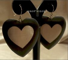 "NEW CHUNKY BLACK SILVER MATTE HEART 2"" DANGLE DROP HOOK EARRINGS"