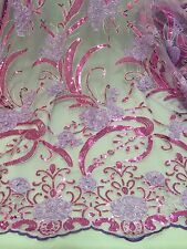 """LILAC/PURPLE/SILVER METALLIC EMBROIDERY SEQUIN MESH LACE FABRIC 50"""" WiIDE 1 YARD"""