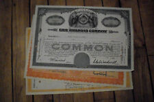 3 different old USA railroad stock certificates nice used