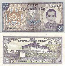 Bhutan P22, 10 Ngultrum, Palace / King Wangchuk, dungkar (conch) 2000 UNC
