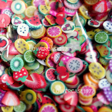 Fruit slices nail decorations. 1000pcs 5mm - rainbow, cute kawaii stickers