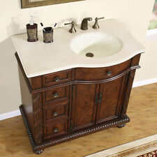 "36"" Marble Top Lavatory Bathroom Single Vanity Cabinet Off Center Sink 213CM-R"