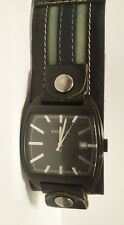 Fossil Mens Watch Leather Cuff Square All Stainless Steel JR-9424