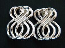 """Vintage Geometric Statement Earrings Figure 8 Abstract Silver Tone Clip On 1.25"""""""