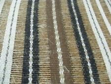 Masculine TEXTURED LINEN open weave Woven Stripe DRAPERY FABRIC New black brown