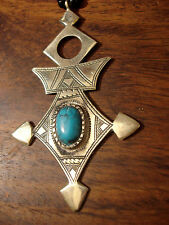 Niger Tuareg cross hand engraved pendant + turquoise stone + agate beads