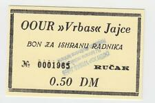 0,5 DM Germany Mark OOUR VRBAS JAJCE Bosnia ex Yugoslavia,Local note bons coupon