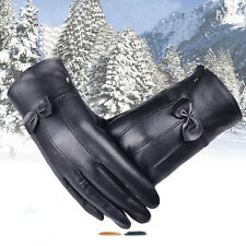 Women Girl Luxurious Leather Winter Super Warm Gloves Cashmere Bow Stylish