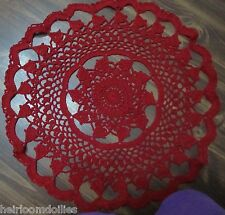 ~~TAMS RED CHRISTMAS BELLS DOILY~APPROXIMATELY 15 INCHES~CROCHETED~HANDMADE~~