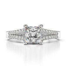 1.50 CARAT PRINCESS CUT D/VS2 DIAMOND SOLITAIRE ENGAGEMENT RING 14K WHITE GOLD