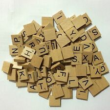 500 WOOD SCRABBLE TILES WOODEN BLACK NUMBERS LETTERS BOARD CRAFTS GENUINE UK NEW
