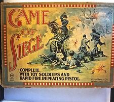 "Antique ""Game of Siege"" Paper Soldiers & Toy Gun Milton Bradley + Extra Soldiers"
