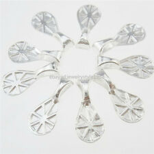 13258 100PCS Silver Glue on Bails Setting Waterdrop Lemon Bails For Necklace